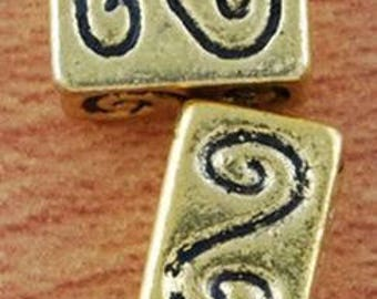 2 solid gold metal 10 4 x 6 rectangle beads, 3mm