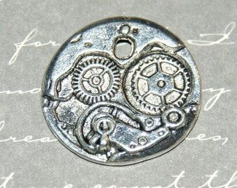 """Charm / round Medallion mechanism """"Steampunk"""" metal silver 24mm"""