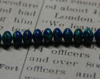 5 turquoise rondelle beads reconstituted blue/green 5x8mm
