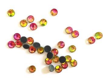 "50 rhinestones fusible SS16 ""hotfix"" pink/yellow/green 3, 8 - 4mm"