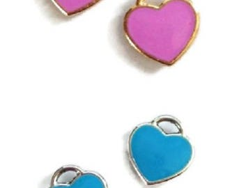 2 turquoise enamelled heart charms / fuchsia silver / goldtone 11x12mm