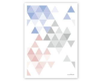 Print, poster, art print, geometrical print, geometric poster, colorful poster, colourful, triangular, triangles, geometry