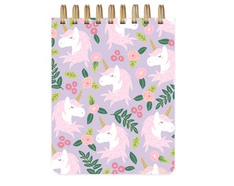 Unicorn Floral Purple - Notebook