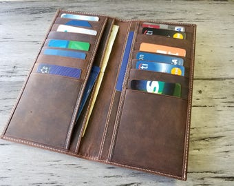 Personalized Bifold Leather Wallet, Men's Wallet, Minimalist Leather Wallet, Slim Leather Wallet, Distressed Leather Wallet, Groomsmen Gifts
