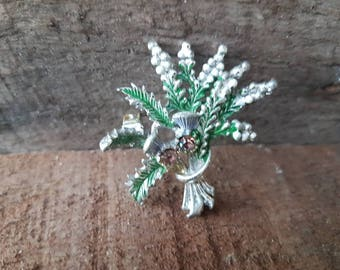 Vintage Lucky Heather & Scottish Thistle Bouquet  Brooch , Exquisite Brooch , Gifts For Her