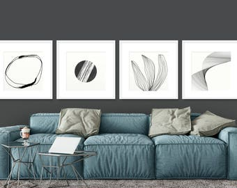 Set of 4 Prints, Abstract Art Print Set, 4 Abstract Prints, Black and White art, Printable Abstract, Minimalist Art set, 20x20 Print sets