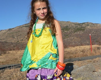 Summer patchwork dress for 6 to 8 year old girl