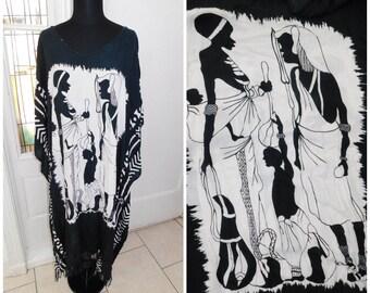 Vintage African Art Print Caftan Tunic Dress Black White African Tunic Dress Free Size