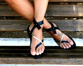 Black leather sandals-Stylish sandals-Callisto-Ankle strap  shoes- Handmade leather shoes