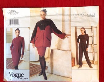 Vogue UNCUT 1990's Sewing Pattern 1654 / American Designer Geoffrey Beene / Misses Coat, Dress, Top & Pants