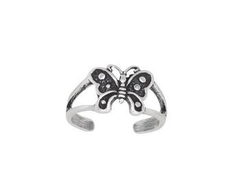 ON SALE Sterling Silver .925 Butterfly Toe Ring adjustable size | Made In USA