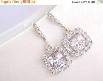 SALE Wedding Jewelry, Silver, Cubic Zirconia, Bridal Jewelry, Bridal Earrings, Bride Earrings, Bridesmaids Gifts, Bridesmaid Earrings, Dangl