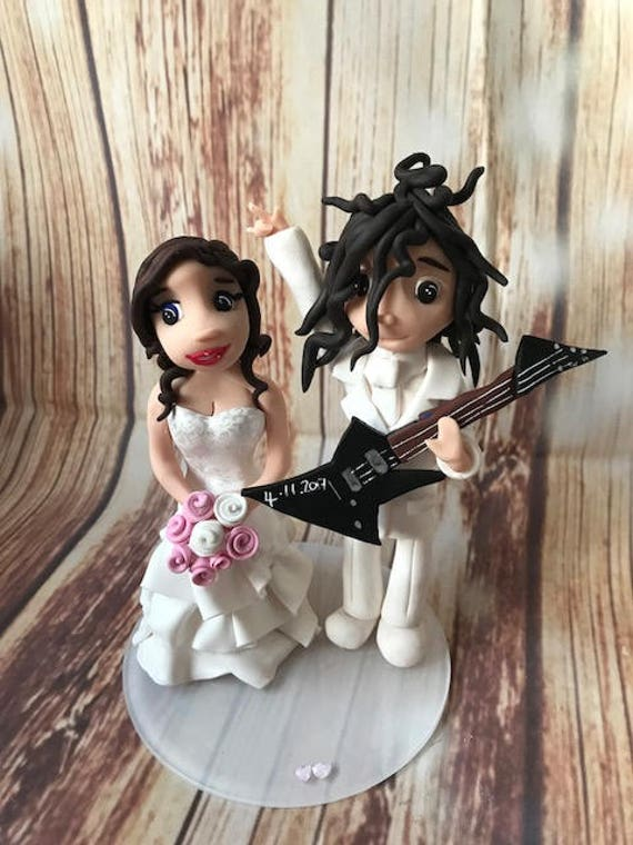 Fully personalised guitar/Music/Rock bride clay Wedding Cake Topper highly detailed and fully sculpted Keepsake - Bespoke Premium Service