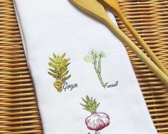 Kitchen Towel White Garlic, Ginger, Fennel Embroidery Handmade