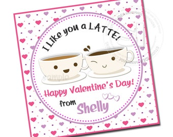"Valentine Printable 2.5"" Tags-Happy Valentines Personalized Tags, Latte Love DIY (You Print) 2.5"" tags-Digital File"