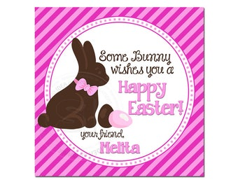 """Custom Easter Bunny-Easter Eggs Printable 2.5"""" Tags-Happy Easter D.I.Y Tags- Personalized Stickers (You Print) 2.5"""" tags-Digital file"""