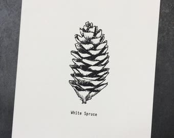 Modern Botanical Wall Print, Pine Cone Print, Nordic Print Art, Botanical Prints Black White, Screen Print, Handmade, Nature Print, Original
