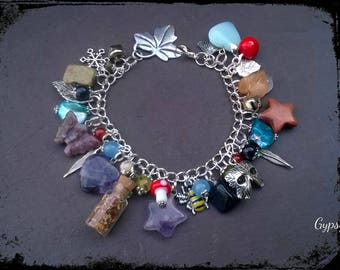 Unique faery treasures healing gemstone charm bracelet, loaded with crystals & charms