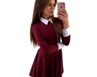 Elegant Collared Long Sleeve Dress Red