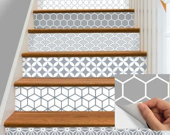 15steps Stair Riser Vinyl Strips Removable Sticker Peel & Stick : S005 Gray