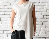 SALE Off White Asymmetric Top/Extravagant Sleeveless Tunic/Light Grey Casual Vest/Modern Tail Top/Loose Tunic Top/Plus Size Sleeveless Shirt