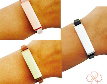 PRE-SALE Fitbit Bracelet for Fitbit Flex 2 Fitness Trackers - The KATE Single Strap Brushed Metal and Genuine Leather Buckle Fitbit Bracelet