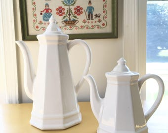 Pfaltzgraff Heritage Coffee Pot, Large White Ceramic Pitcher, or Pfaltzgraff Heritage Tea Pot