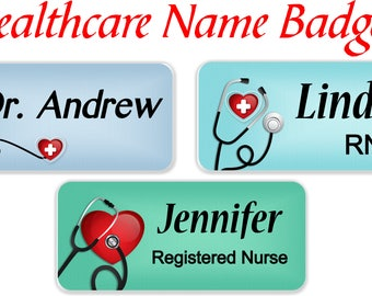 Magnetic Name Badge, Magnetic Nursing Name Tag, Nursing Name Tag, Stethoscope Name Tag, Medical ID Badge, Doctor Name Tag- STETHOHEART2