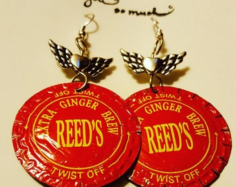 Upcycled Reed's bottle cap earrings.