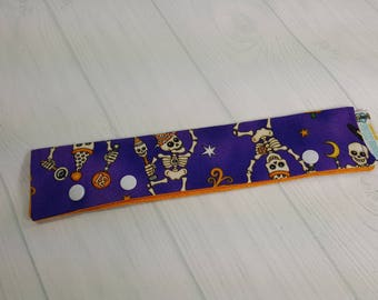 "Halloween Skeletons Long Needle Cozy DPN Holder - project holder 8""x2"" (Hold up to 8"" Needles) NCL0048"