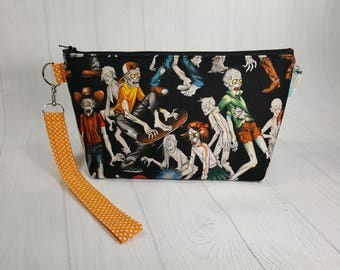 Zombie High Small Knitting Project Bag, Zippered Wedge Bag, Zipper Knitting Bag, Cosmetic Bag, Sock Knitting Bag WS0056