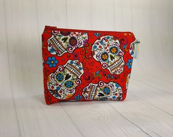 Zipper Notions Pouch Sugar Skulls on Red, Mini Zippered Wedge Bag, Craft Pouch NP0031