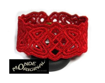 Red embroidered Celtic bracelet