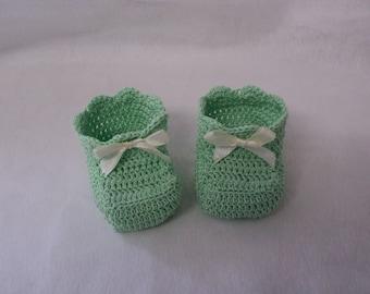 Pair of booties, birth, baptism keepsake gift, to lime