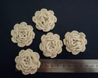 SET of 10 flowers ECRUES to CROCHET for EMBELISSEMENT ref: z37, 4cm