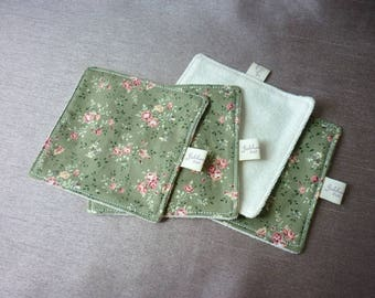 4 wipes washable cotton and Microfiber - green field