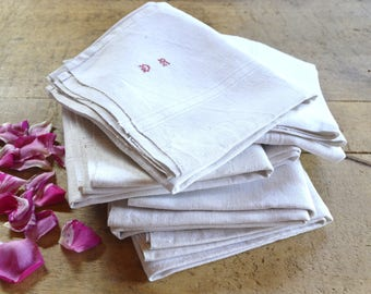 French Vintage Pure Linen Towel, Tea Towel, Kitchen Towel, Red Intials, Shabby Chic * Farmhouse * Country Style * Retro Kitchenalia