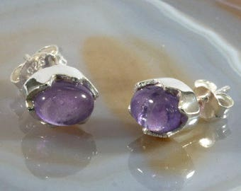 Ear studs , 925 sterling silver with beautiful amethyst