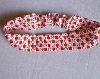 Baby headband, cotton, apples on white background