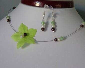 Necklace earrings flower silk lime green wedding maid of honor communion girl