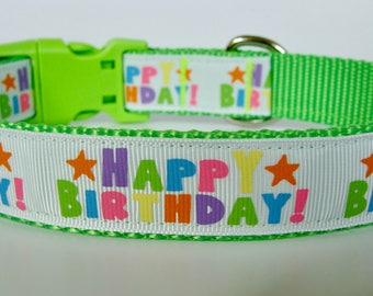 Happy Birthday Party Dog Collar - Lime Green - Ready to Ship!