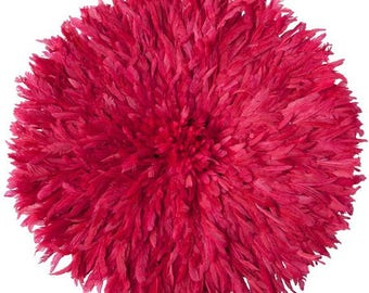 JuJu Hat|Authentically Hand Woven Feather Headdress And Wall Décor – 31 Inches | FUCHSIA