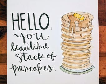 Pancake Quote Watercolor