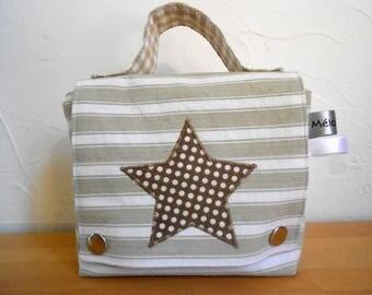 Snack bag striped beige