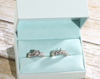 Double Engagement Wedding Ring Band Presentation Gift Box, Pastel Baby Blue, Mist Blue