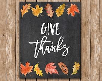 Give Thanks Thanksgiving Fall Autumn Chalkboard Calligraphy Print printable decor seasonal thanksgiving printable watercolor leaves fall art