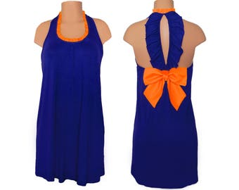 Navy + Orange Back Bow Dress