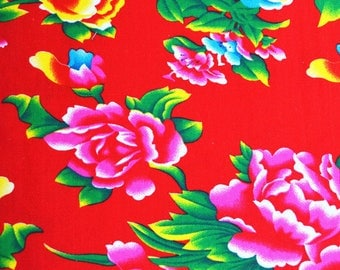 Fabric Chinese furniture traditional Peony Red 7 m