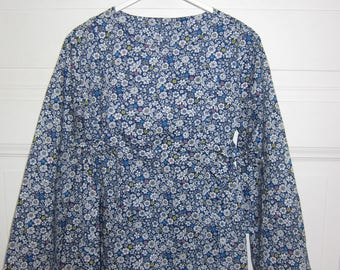 cotton girl blouse blue flowers