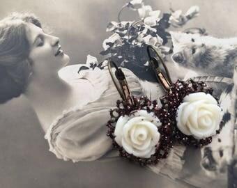 Earrings ' pink ivory stud earring